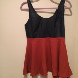 NWOT Double Zero Colorblock Leather Tank Top sz S